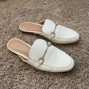 Target brand white loafer mules